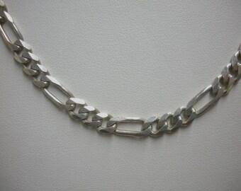 "FREE SHIP Sterling silver Italian Sterling 3+1 figaro silver 24"" artisan chain weighing 9/10 oz. - BearlyArtDesigns Store"