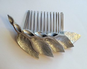 Metallic Silver leather hair comb