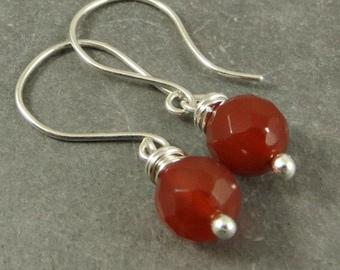 Carnelian Earrings, Wire Wrapped Gemstone Earrings, Gemstone Jewelry, Fall Jewelry Gifts for Her