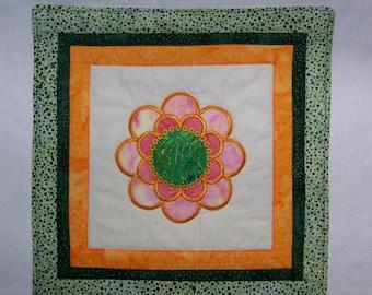 Fun Flowers Mug Rug Mini Quilt or Coaster #4