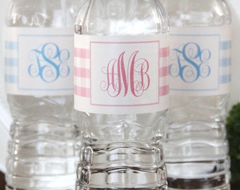 Baby Shower GINGHAM Waterproof Water Bottle Label- Set of 20
