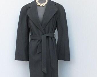 Vintage 40s/50sWrap Coat,  Black Full Length Wool Wrap Coat, Ladies Coat