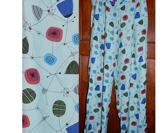 Vintage 80s does 50s cold rayon atomic boomerang mobile print pants