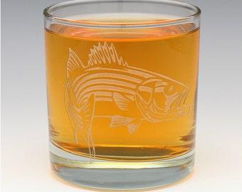 Engraved Bass Whiskey OTR Glass.