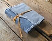Medium Soft Cover Patchwork Fringed Denim Journal With Lace Wrap, Repurposed Blue Denim Art Journal , Medium  Handmade Denim Sketchbook