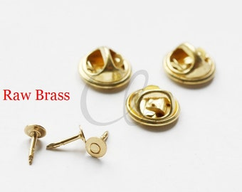 40 Sets Raw Brass Nail or Tie Tack Blank Pin with Clutch Back - Scatter Pin- 4mm HEAD - 8mm Nail - 11.35mm Clutch (1895C-I-383)