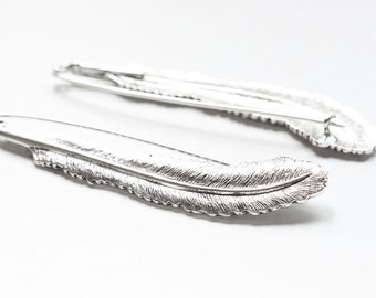 2pcs Oxidized Silver Tone Base Metal Brooch - Feather 87x18mm (19743Y-Q-236)