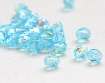 50pcs Czech Fire Polish Glass Faceted Round-Aquamarine AB 3mm (3X6002)