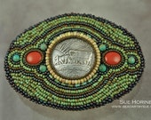 Oregon Trail Coin and Red Jasper and Turquoise Bead Embroidered  Belt Buckle