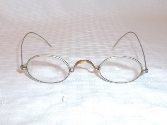 Wire Frame Glasses Vintage : Antique Victorian Steam Punk Oval Wire Frame Eyeglasses Unisex
