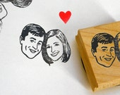 Valentine Custom portrait couple stamp / Portrait invitations / self inking / wood block / for personalized wedding save the date him her