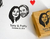 Portraits invitations stamps / custom rustic wedding / self inking / wood block / for rustic gift idea engagement save the date face bride