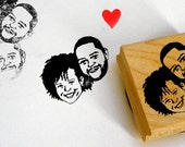 Valentine Custom couple portrait wedding stamp / Save the date / self inking wood block / for gift invitations thank you marriage decoration