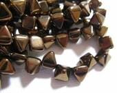 Czech BeadStuds- 6mm square, 6.5mm tall, 2 Holes - Dark Bronze - 25 Beads