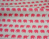 Large Elephant Print Pink 50 cm by 106 cm or 19.6 by 42 inches Half meter
