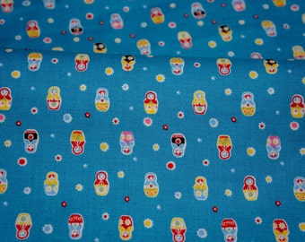 Tiny matryoshka print light weight fabric half meter 50 cm by 106 cm or 19.6 by 42 inches nc52