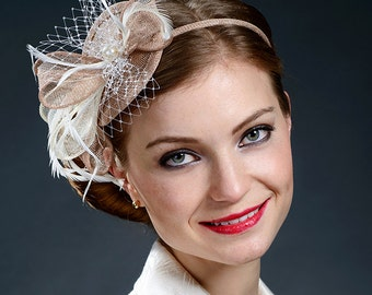 Beige and Ivory fascinator hat, milk coffee brown and ivory fascinator for special occasions-New style and new colours!