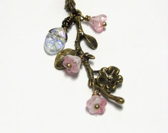 Antique Bronze Branch Necklace, Cherry Blossom Jewelry, Pink Blossom Necklace