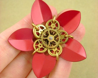 "Blackmaille Scalemaille-Gearmaille ""Synthetica"" Flower Pendant in Crimson Red, Bronze and Brass"