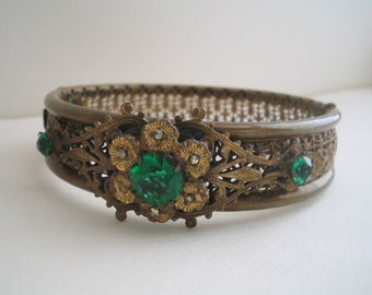 Filligree cuff hinged bracelet Green rhinestones and marcacite bracelet Filligree bracelet Green rhinestone bracelet