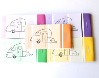PAINT CHIP MATCHBOOK notepads Set of 5- Vintage Teardrop Camper in brights