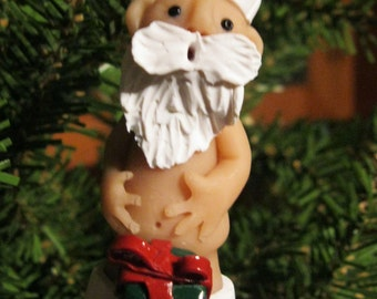 "Naked ""Naughty"" Junk-in the-Box Santa Claus Christmas Ornament - Unique and Funny Jolly Santa Christmas Ornament"