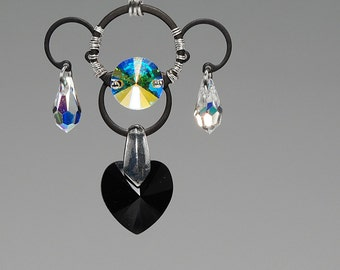 Earth v11: Bold industrial wire wrapped Pendant with crystal ab and jet Swarovski crystals