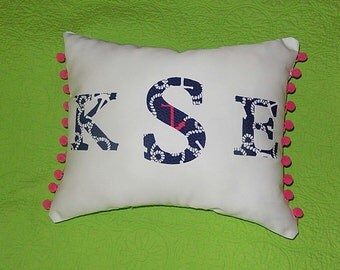 New monogram pillow made with Lilly Pulitzer NAVY AHOY THERE fabric