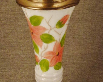 VICTORIAN GLASS ENAMEL Handpainted Flowers tall Table Lamp  Brass base Rewired 22 in tall 7 in diam
