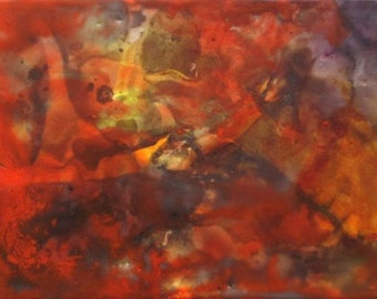 Erruption, framed art, orange encaustic painting