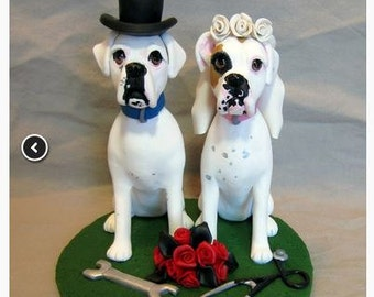Custom Made Clay 2 Dog Wedding Cake Topper Sculpture Boxer Bride Groom White Boxer Dogs Roses