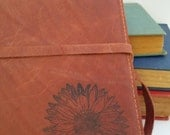 large leather journal sketchbook custom handprinted for you - personalized leather journal