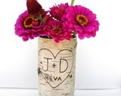 Rush order, One large birch bark vase with free engraving
