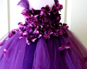 Flower Girl Dress, Tutu Dress, Photo Prop, Purple Flower Dress, Flower Top, Cascading Flowers, Tutu Dress