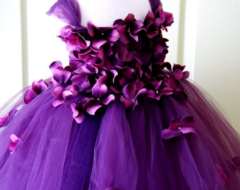 Flower Girl Dress, Tutu Dress, Photo Prop, Purple Flower Dress, Flower Top, Cascading Flowers, Tutu Dress