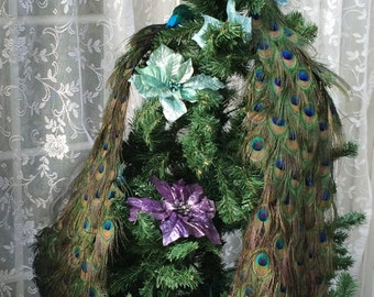 """28"""", 36"""", 48"""" or 60"""" Peacock Wedding Cake Topper or Christmas tree topper"""