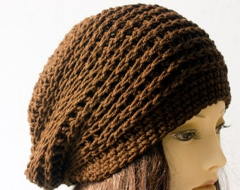 Brown Winter Hat,  Woman's Crochet Hat,  Vegan Hat, Slouchy Beanie, Ready to Ship