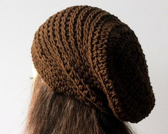 Slouchy Beanie Crochet Pattern,  Knit Look Crochet Hat Pattern, Instant Download PDF