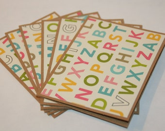 Note Cards, Blank, 6 Cards, Pastel ABCs, Thank you