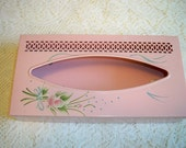 Vintage Tole Painted Metal Tissue Box Cover and Glass Pink Roses Bathroom Vanity Set