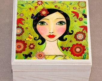 Mixed Media Portrait Girl Jewelry Box, Trinket Box, Gift Box