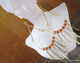 Gold Earrings Shoulder Duster Boho Gypsy Forged Brass Bohemian Handmade Ear Wires