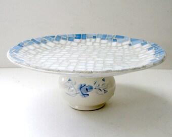 Blue Dessert Stand, Handmade Pedestal Dish, White and Blue Mosaic Centerpiece. Blue White Cake Stand, Blue White Mosaic Dessert Stand
