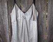 Vintage Upcycled Silk Camisole Silver Gray Cami Tank Bridal Lingerie