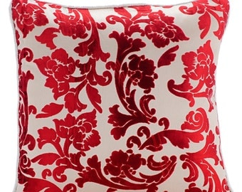 """Handmade Cayenne Red Throw Pillows Cover, Red Floral Pillows Cover Square  18""""x18"""" Burnout Velvet Throw Pillows Cover - Cayenne Red Florals"""