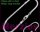 MERZIEs 21cm add a bead silver plated add a bead European Charm beads chain bracelet with lobster clasp - USA