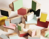 Wooden wall hooks, rectangular design, plain colours