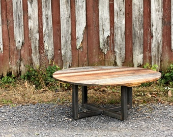 Free Shipping! Weathered Grey Reclaimed Wood Coffee Table and Metal Base