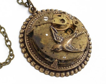 Time Flies - Bronze Steampunk Necklace