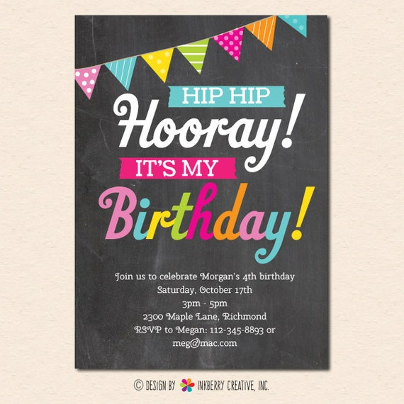Hooray It's My Birthday Chalkboard And Party Banner